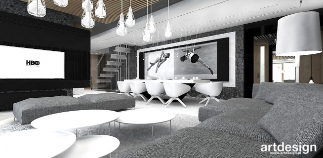 salon i jadalnia - szare wnętrza   ARTDESIGN PERFORMANCE