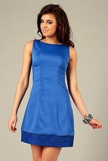 Elegancka sukienka wieczorowa z lamówką, niebieska