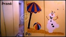 """Szafa przed i po malowaniu! Jak powstawał na niej Olaf z """"Krainy Lodu""""? Klik w zdjęcie przekieruje Cię na bloga, gdzie zobaczysz krok po kroku jak to się malowało ;)"""