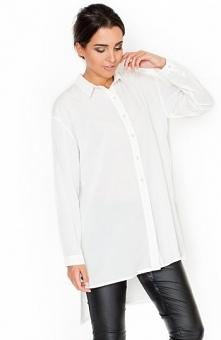 Katrus K293 koszula ecru Przepiękna długa koszula, wykonana z gładkiego mater...