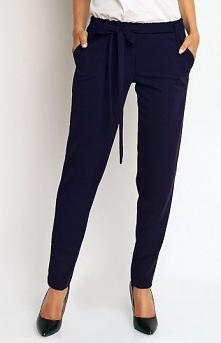 Karen-styl H51 spodnie granatowe Modne spodnie, wykonane z gładkiej i jednoli...