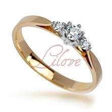 Złoty pierścionek zaręczynowy z brylantami Lilove Diamonds