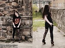 Modelka Silver Wolfie, sesja dla Rockmetalshop,foto Karolina Karnaś, legginsy...