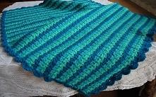 Przedstawiam kocyk szydełkowy wykonany własnoręcznie w odcieniach turkusu. Je...