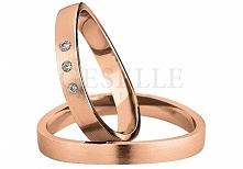 Obrączki ślubne Saint Maurice - różowe złoto, fantazyjny kształt i trzy lśnią...