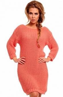 Lemoniade LS157 sweter łososiowy Piękny ciepły sweter, wykonany z grubej dzianiny, nie gryzie