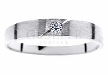 WZ 403 Prosty i deliaktny pierścionek z białego złota 14K z brylantem 0,03 ct - GRAWER W PREZENCIE - kolekcja GESELLE Jubiler