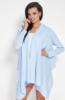 Fobya F189 sweter błękitny Piękna narzutka, długi rekaw, asymetryczny fason