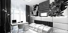 czarno-białe wnętrze pokoju...