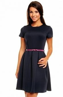Kartes moda KM146 sukienka granat Dziewczęca sukienka, krótki rękaw, w pasie ...
