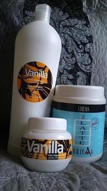 Kallos: - szampon waniliowy do włosów suchych i matowych (poj. 1000ml, ok.10zł), - maska latte z proteinami mleka (poj. 1000ml, ok.13zł), - maska waniliowa w mini wersji sprawdz...