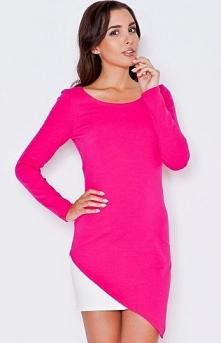 Katrus K284 sukienka różowa Urocza i kobieca sukienka, dopasowany fason, dosk...