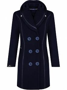 Elegancki wełniany płaszcz damski, na guziki, granatowy