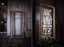 Rozsadzenie gości na weselu, super pomysł na wykorzystanie starej ramy okiennej.