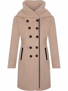 Elegancki wełniany płaszcz damski, beżowy
