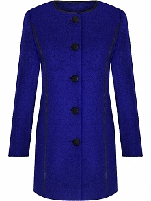 Wełniany płaszcz damski, wykończony ekoskórą, chabrowy