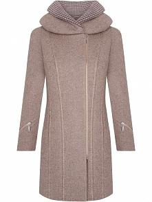 Elegancki płaszcz z wełny z zameczkami, cappuccino