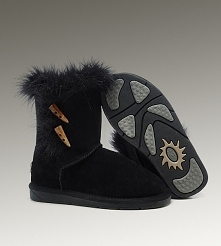Women UGG Fox Fur Short Boots Black