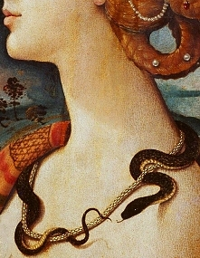 Traveling through history of Art...Simonetta Vespucci as Cleopatra, detail, by Piero di Cosimo, 1490