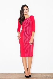 Elegancka sukienka za kolano, czerwona