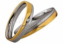Dwukolorowe obrączki ślubne z kolekcji Saint Maurice z białego i żółtego złota z brylantem - GRAWER W PREZENCIE - kolekcja biżuterii ślubnej GESELLE Jubiler