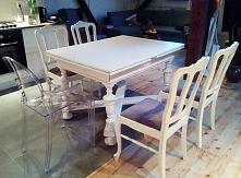 Odnowiony antyczny stół i krzesła - idealnie komponują się w nowoczesnym wnętrzu