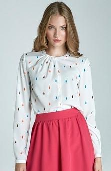 Nife B61 bluzka łezki Elegancka bluzka damska, delikatna i kobieca, niepowtarzalne marszczenia przy dekolcie