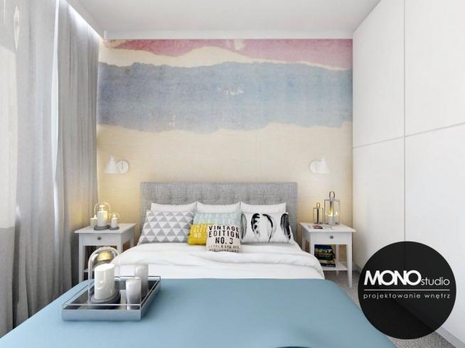 Przytulna sypialnia z wykorzystaniem tapety w kolorze jako główny element dekoracyjny   Więcej o nas znajdziesz na wwwmonostudiopl oraz facebook Projektowanie WNĘTRZ pod klucz MONOstudiopl