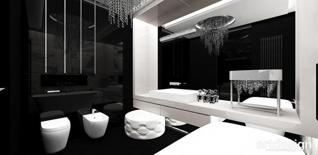 Czarno Biała łazienka Look 07 Na łazienka Zszywkapl