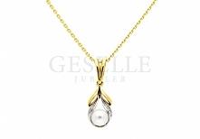 W stylu Coco Chanel - elegancka zawieszka z perłą i cyrkoniami z żółtego złot...