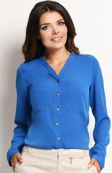 Awama A126 koszula niebieska Szykowna koszula damska, dostępna w kilku modnyc...
