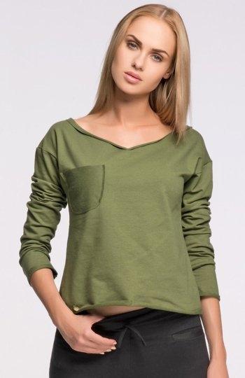 Makadamia M269 bluzka khaki Stylowa bluzka, wykonana z dresowego materiału, długi rękaw