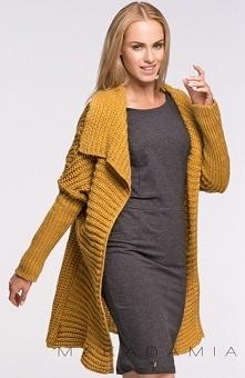 Makadamia S34 sweter musztardowy Przepiękny i ciepły sweter, niezapinany, doskonały na chłodne dni
