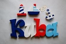 """Dekoracje, litery. Dekoracyjny napis z imieniem. Kolorystyka i motywy """"m..."""