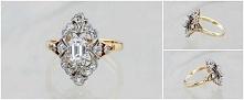 Piękny pierścionek z diamentami wykonany ze złota.