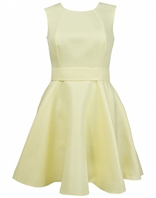 Piankowa sukienka z wycięciem i kokardą, żółta