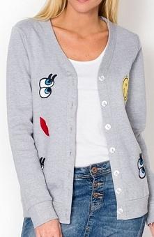 Smily sweter szary Świetny kardigan, rozpinany, modne naszywki