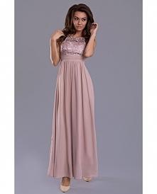 Wieczorowa sukienka maxi.  * delolt koronkowy wykończony ozdobymi kamieniami  * zaznaczona talia  * dół o luźnym kroju  * z tyłu wszyta gumka  Sukienka dostępna w naszym sklepie...