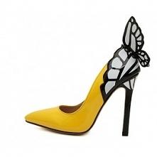 Żółte i czarne szpilki z motywem motyla 3D. Zapraszamy do sklepu Celeb Butik