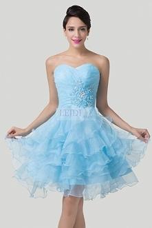 Sukienka z falbanami, błękit paryski