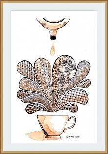 Zentangle malowane herbatą