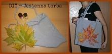 Łapcie za liście i farby akrylowe oraz eko-torbę, którą łatwo, prosto i przyj...