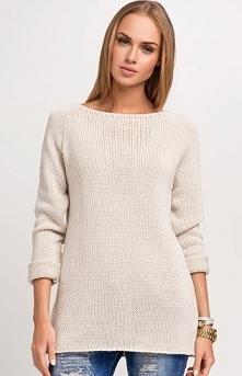 Makadamia S21 sweter beż Kobiecy sweter, klasyczny fason, luźny krój