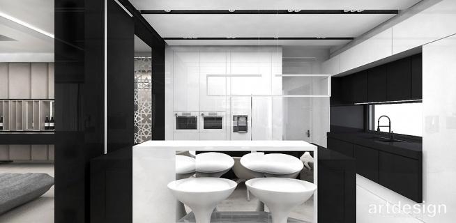 Biało Czarna Kuchnia Z Wyspą Haute Couture Architecture Na
