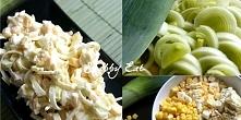 Sałatka z jajkiem i porem składniki: 1 duży por (tylko biała część) 100g kuku...