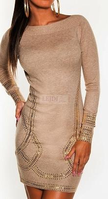 Dzianinowa wyszczuplająca sukienka ze złotymi jetami w stylu Kim Kardashian