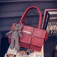 New Fall Cylinder Handbag Lovely Bear Pendant Splice Shoulder Messenger Bag