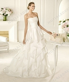Bridal Gown - Style Pronovias Vinilo Chiffon And Organza Draping A-Line