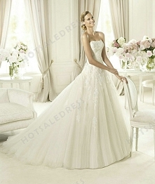 Wedding Dress - Style Pronovias Barroco Chiffon Draping Flowers V-Neck