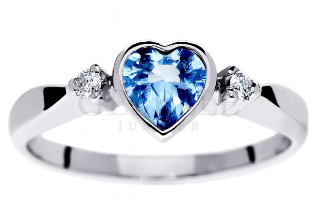Wz 576 Uroczy Pierścionek Zaręczynowy Z Sercem Błękitny Akwam Na